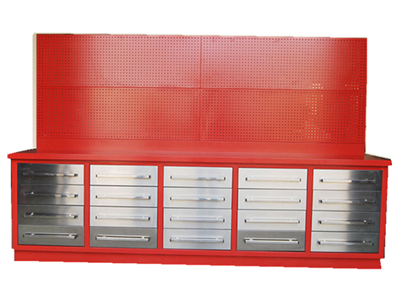 20 Drawer Stainless Steel Work Bench With Peg Board