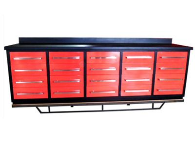 Red Workbench with Cabinet